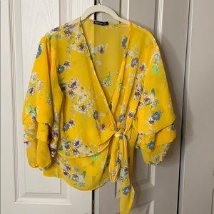 Sheer nastygal floral blouse